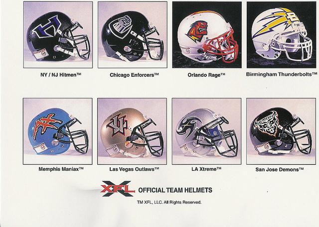 Image result for xfl 2001 teams helmets